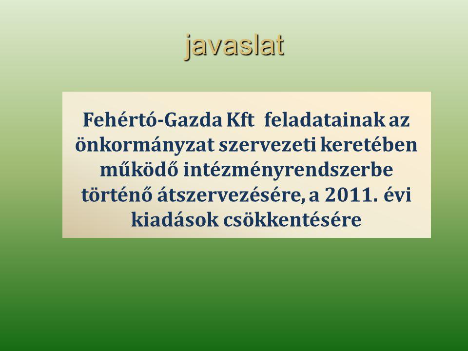 javaslat Fehértó-Gazda Kft feladatainak az önkormányzat szervezeti keretében működő intézményrendszerbe történő átszervezésére, a 2011.