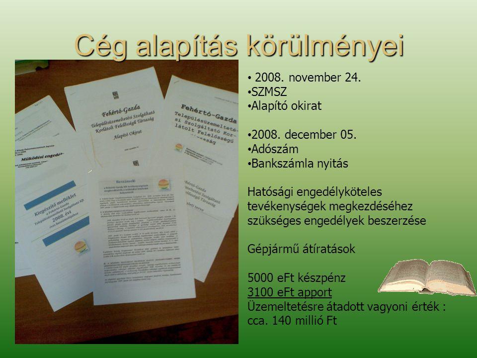 Cég alapítás körülményei • 2008. november 24. • SZMSZ • Alapító okirat • 2008.