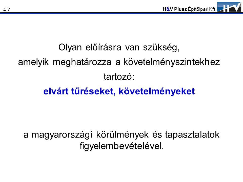 H&V Plusz Építőipari Kft Olyan előírásra van szükség, amelyik meghatározza a követelményszintekhez tartozó: elvárt tűréseket, követelményeket 4.7 a ma
