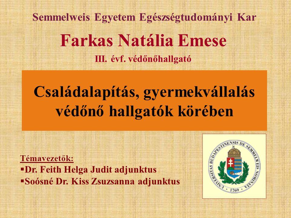 Témavezetők:  Dr. Feith Helga Judit adjunktus  Soósné Dr. Kiss Zsuzsanna adjunktus Semmelweis Egyetem Egészségtudományi Kar Farkas Natália Emese III