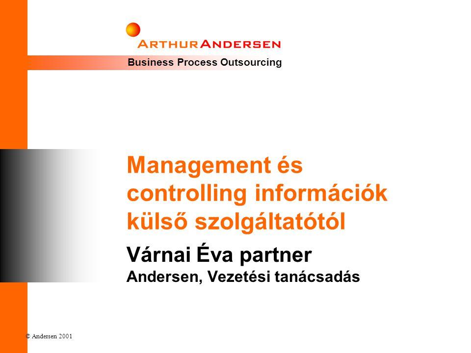 © Andersen 2001 Főbb gondolatok • Működési vízió • Információigények kórházi környezetben • Jelentéscsomagok szempontjai • Külső szolgáltatás előnyei