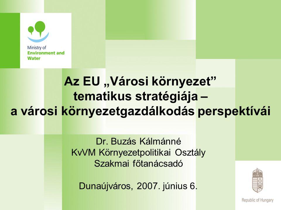 """Az EU """"Városi környezet tematikus stratégiája – a városi környezetgazdálkodás perspektívái Dr."""