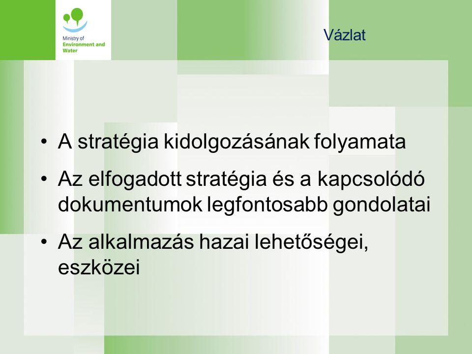 Vázlat •A stratégia kidolgozásának folyamata •Az elfogadott stratégia és a kapcsolódó dokumentumok legfontosabb gondolatai •Az alkalmazás hazai lehetőségei, eszközei