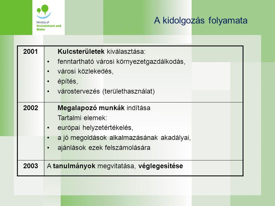 A kidolgozás folyamata 2001Kulcsterületek kiválasztása: •fenntartható városi környezetgazdálkodás, •városi közlekedés, •építés, •várostervezés (területhasználat) 2002Megalapozó munkák indítása Tartalmi elemek: •európai helyzetértékelés, •a jó megoldások alkalmazásának akadályai, •ajánlások ezek felszámolására 2003A tanulmányok megvitatása, véglegesítése