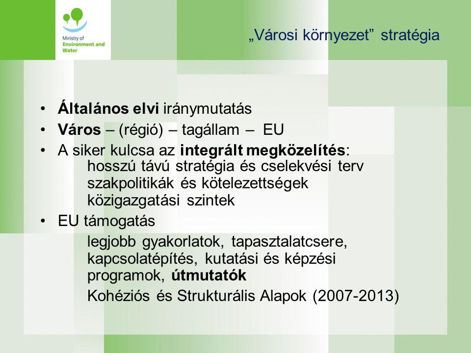 """""""Városi környezet stratégia •Általános elvi iránymutatás •Város – (régió) – tagállam – EU •A siker kulcsa az integrált megközelítés: hosszú távú stratégia és cselekvési terv szakpolitikák és kötelezettségek közigazgatási szintek •EU támogatás legjobb gyakorlatok, tapasztalatcsere, kapcsolatépítés, kutatási és képzési programok, útmutatók Kohéziós és Strukturális Alapok (2007-2013)"""