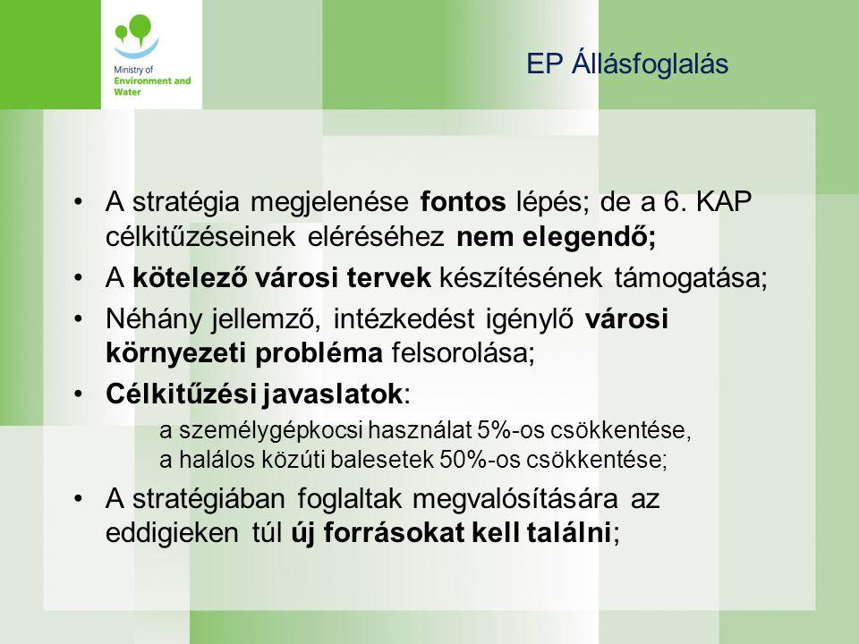 EP Állásfoglalás •A stratégia megjelenése fontos lépés; de a 6.