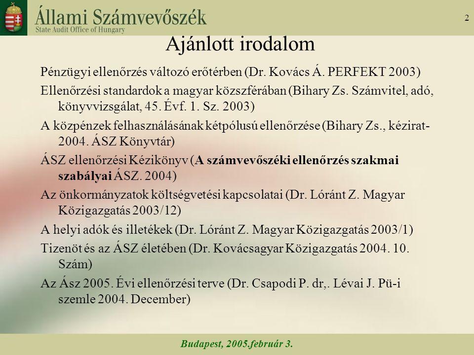 Budapest, 2005.február 3. 2 Ajánlott irodalom Pénzügyi ellenőrzés változó erőtérben (Dr.