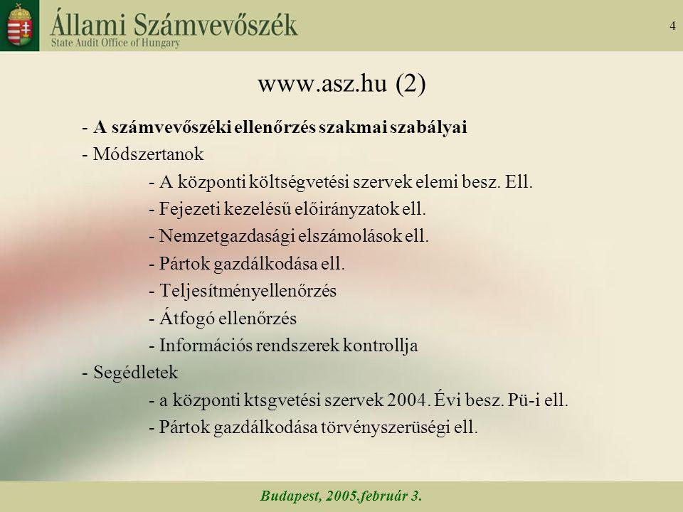 Budapest, 2005.február 3. 45 A számvevőszéki munka minőségének fejlesztése