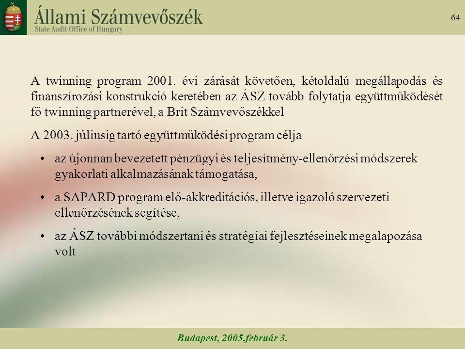Budapest, 2005.február 3. 64 A twinning program 2001.