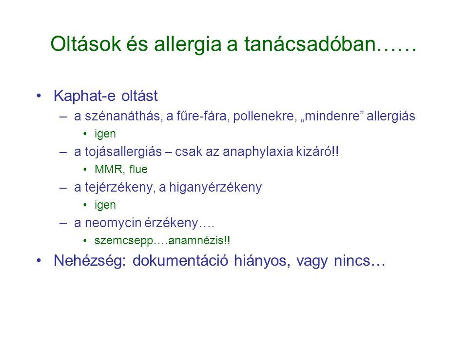 """Oltások és allergia a tanácsadóban…… •Kaphat-e oltást –a szénanáthás, a fűre-fára, pollenekre, """"mindenre"""" allergiás •igen –a tojásallergiás – csak az"""