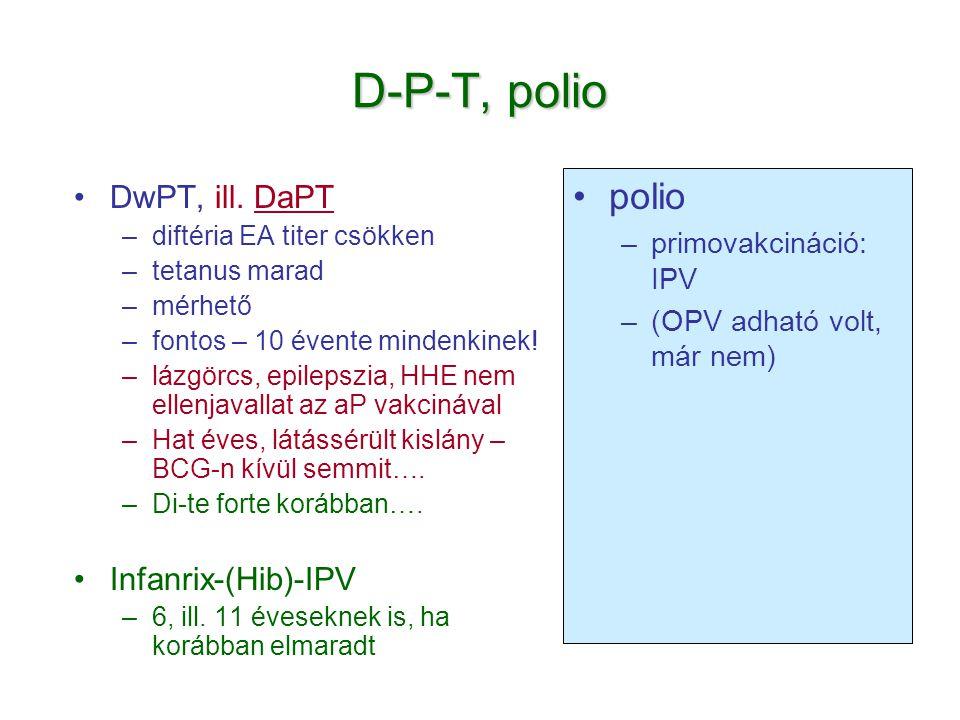 D-P-T, polio •DwPT, ill. DaPT –diftéria EA titer csökken –tetanus marad –mérhető –fontos – 10 évente mindenkinek! –lázgörcs, epilepszia, HHE nem ellen