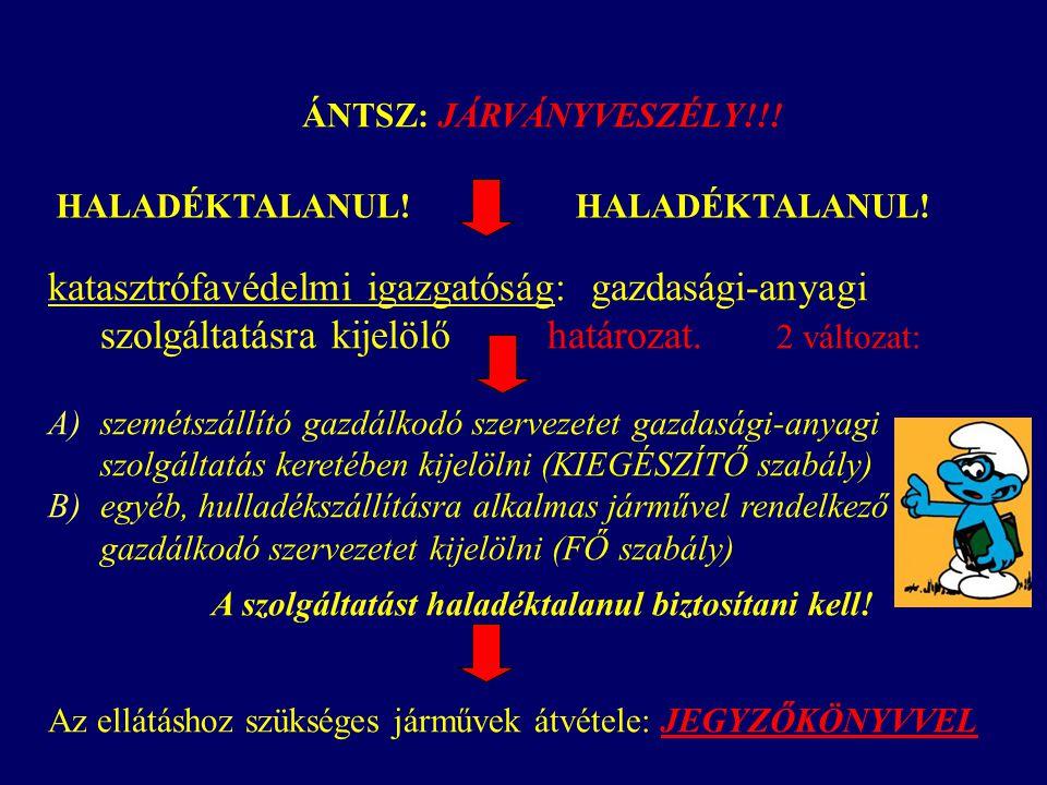 ÁNTSZ: JÁRVÁNYVESZÉLY!!! katasztrófavédelmi igazgatóság: gazdasági-anyagi szolgáltatásra kijelölő határozat. 2 változat: A)szemétszállító gazdálkodó s