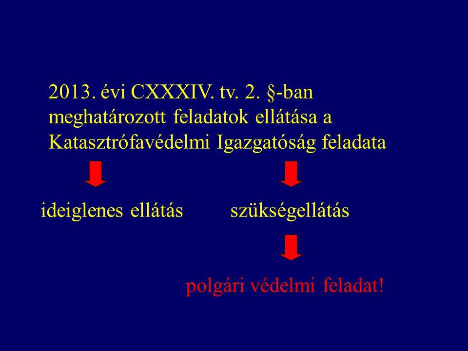 2013. évi CXXXIV. tv. 2. §-ban meghatározott feladatok ellátása a Katasztrófavédelmi Igazgatóság feladata ideiglenes ellátás szükségellátás polgári vé