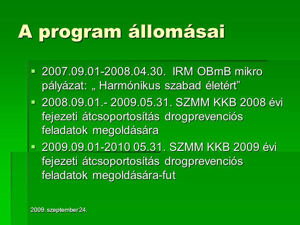 2009.szeptember 24. A program állomásai  2007.09.01-2008.04.30.