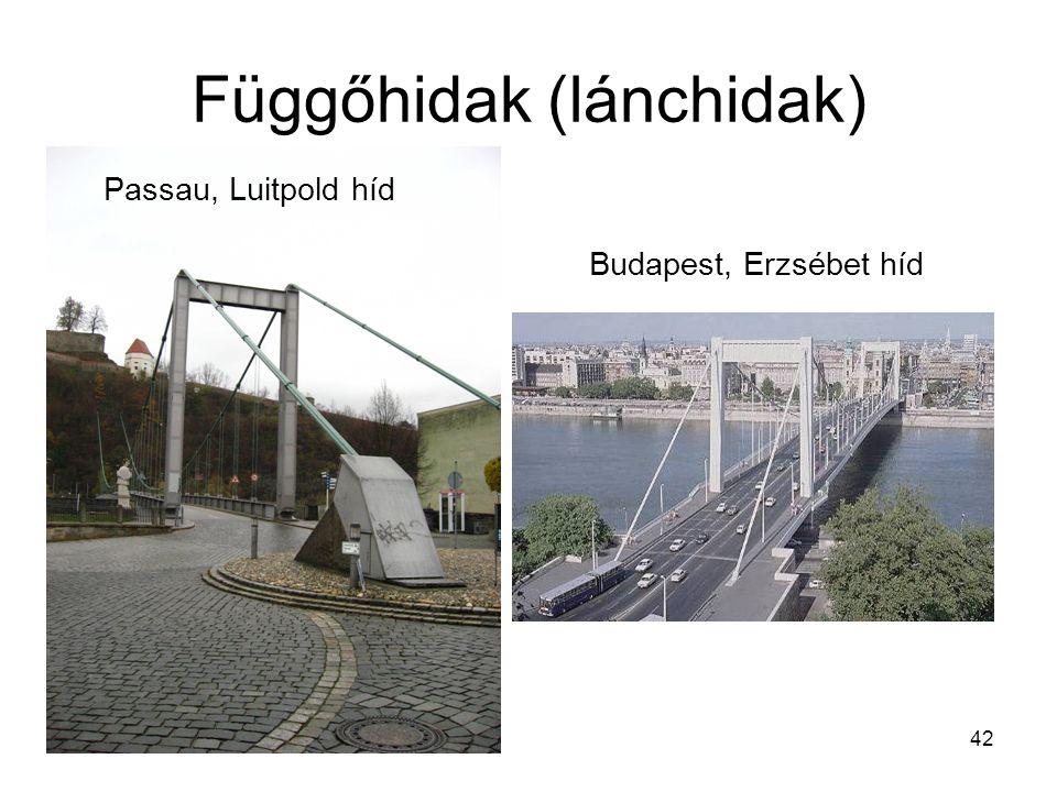 42 Függőhidak (lánchidak) Passau, Luitpold híd Budapest, Erzsébet híd