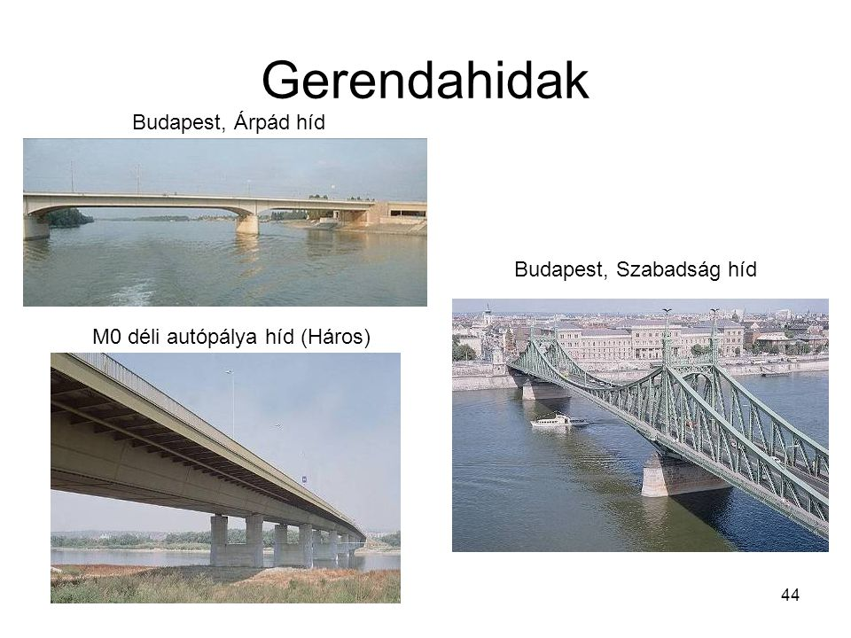 44 Gerendahidak Budapest, Árpád híd M0 déli autópálya híd (Háros) Budapest, Szabadság híd
