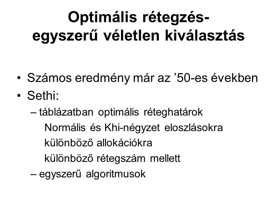 Optimális rétegzés- egyszerű véletlen kiválasztás •Számos eredmény már az '50-es években •Sethi: –táblázatban optimális réteghatárok Normális és Khi-n