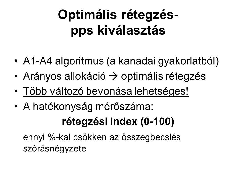 Optimális rétegzés- pps kiválasztás •A1-A4 algoritmus (a kanadai gyakorlatból) •Arányos allokáció  optimális rétegzés •Több változó bevonása lehetség