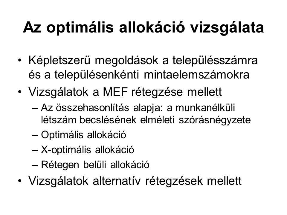 Az optimális allokáció vizsgálata •Képletszerű megoldások a településszámra és a településenkénti mintaelemszámokra •Vizsgálatok a MEF rétegzése melle