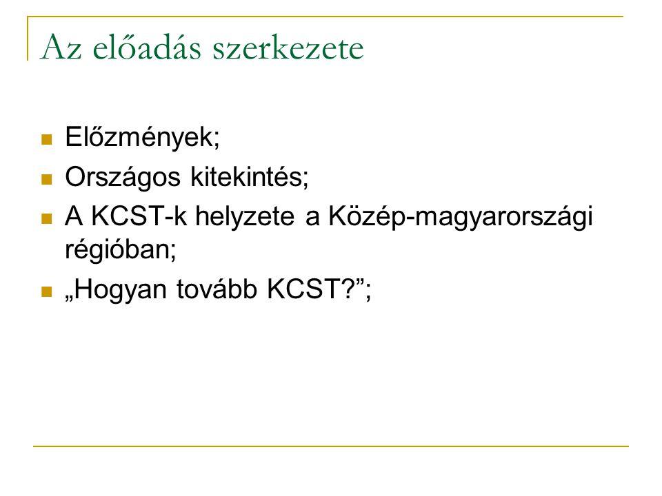 """Az előadás szerkezete  Előzmények;  Országos kitekintés;  A KCST-k helyzete a Közép-magyarországi régióban;  """"Hogyan tovább KCST ;"""