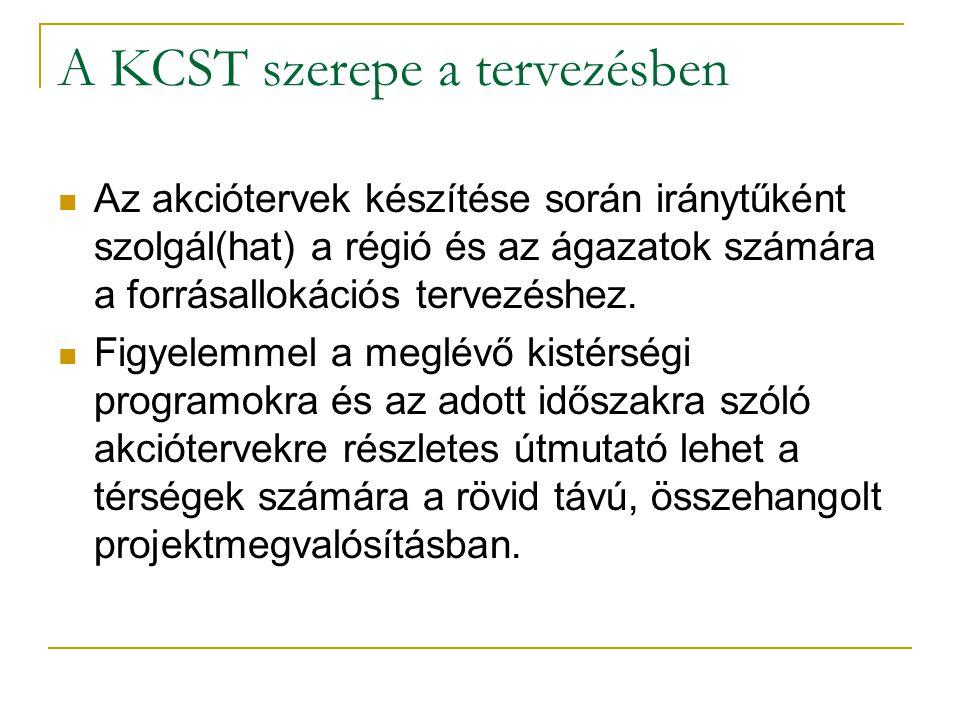 A KCST szerepe a tervezésben  Az akciótervek készítése során iránytűként szolgál(hat) a régió és az ágazatok számára a forrásallokációs tervezéshez.
