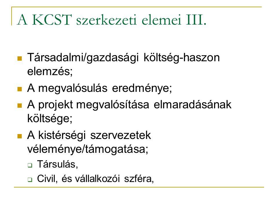 A KCST szerkezeti elemei III.