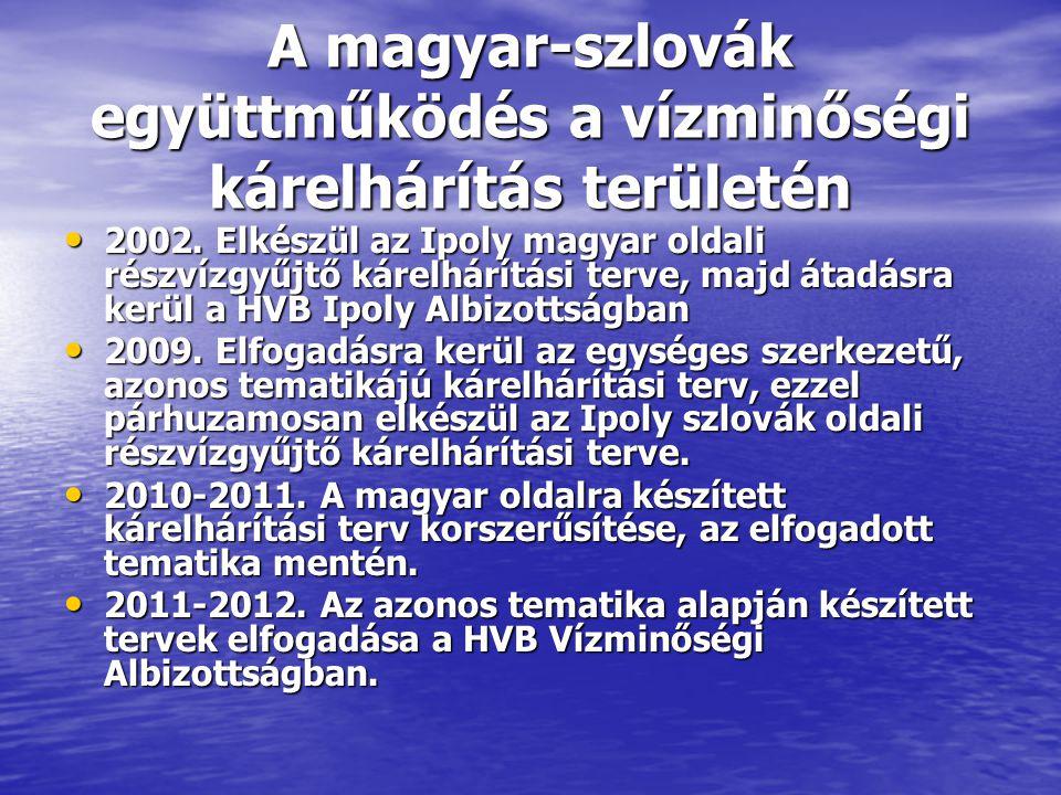 A magyar-szlovák együttműködés a vízminőségi kárelhárítás területén • 2002. Elkészül az Ipoly magyar oldali részvízgyűjtő kárelhárítási terve, majd át