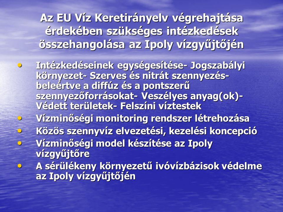 Az EU Víz Keretirányelv végrehajtása érdekében szükséges intézkedések összehangolása az Ipoly vízgyűjtőjén • Intézkedéseinek egységesítése- Jogszabály