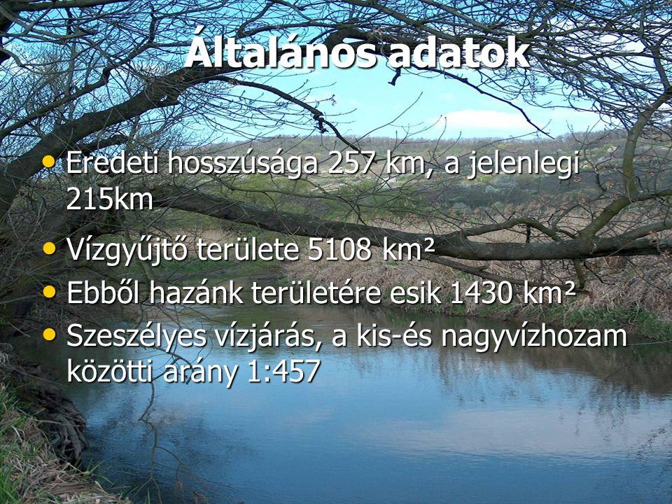 Általános adatok • Eredeti hosszúsága 257 km, a jelenlegi 215km • Vízgyűjtő területe 5108 km² • Ebből hazánk területére esik 1430 km² • Szeszélyes víz
