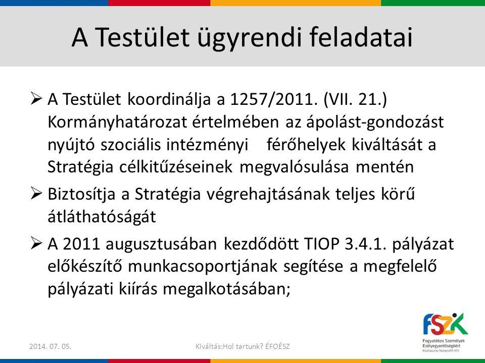 A Testület ügyrendi feladatai  A Testület koordinálja a 1257/2011. (VII. 21.) Kormányhatározat értelmében az ápolást-gondozást nyújtó szociális intéz