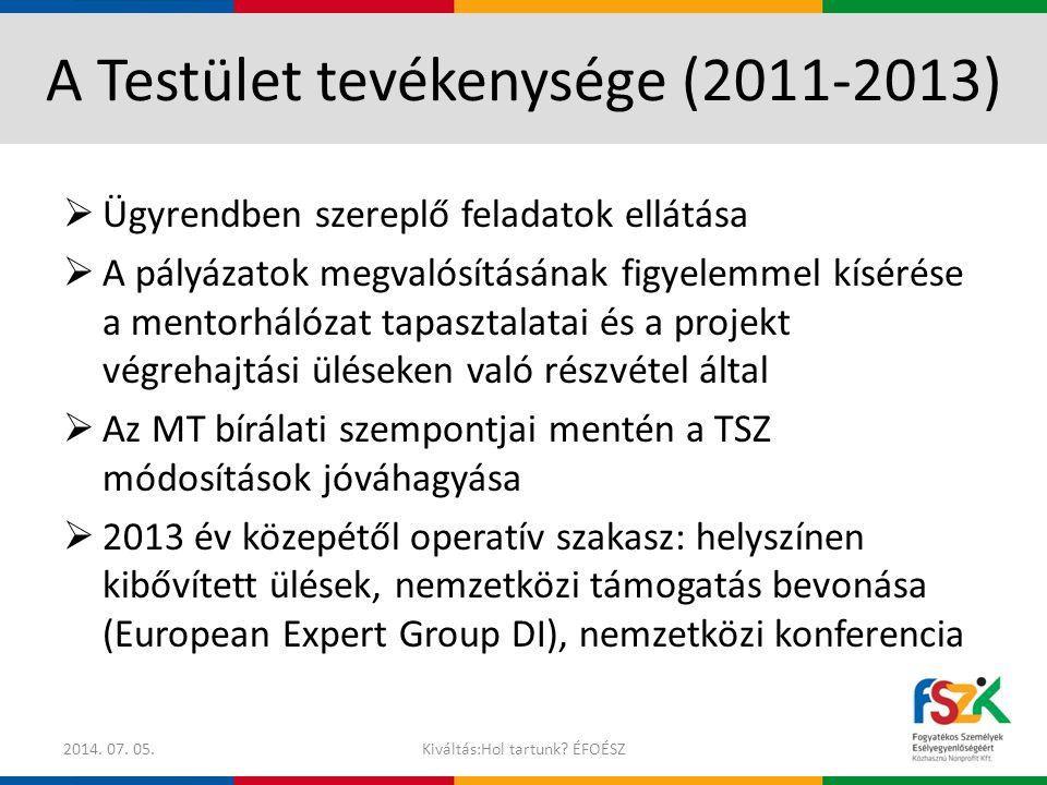 A Testület tevékenysége (2011-2013)  Ügyrendben szereplő feladatok ellátása  A pályázatok megvalósításának figyelemmel kísérése a mentorhálózat tapa