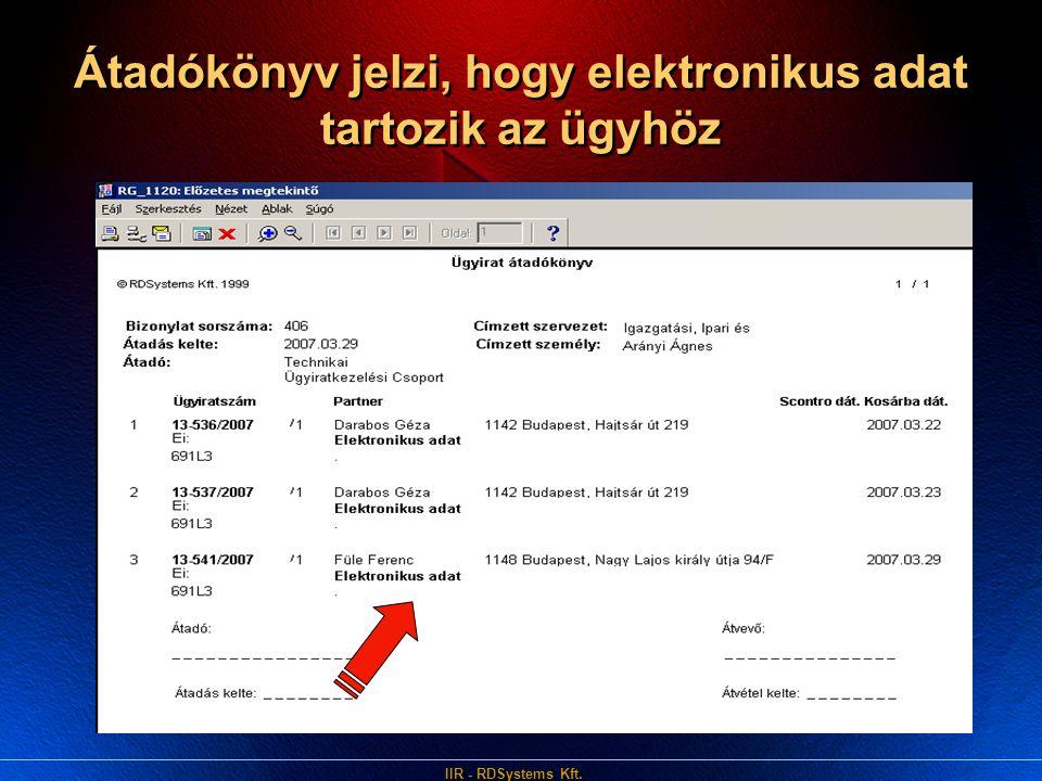 IIR - RDSystems Kft. Átadókönyv jelzi, hogy elektronikus adat tartozik az ügyhöz