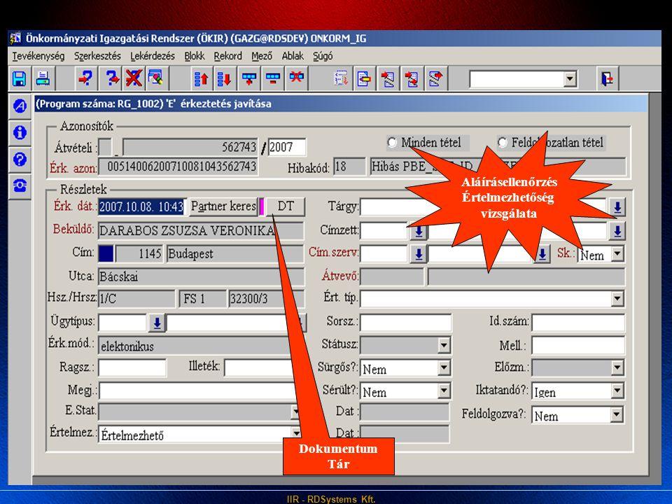 IIR - RDSystems Kft. Aláírásellenőrzés Értelmezhetőség vizsgálata Dokumentum Tár
