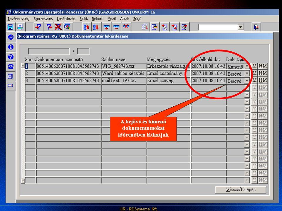 IIR - RDSystems Kft. Köszönjük a figyelmet!