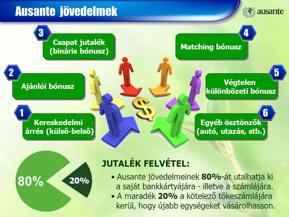 Ausante jövedelmek Kereskedelmi árrés (külső-belső) 1 Ajánlói bónusz 2 Csapat jutalék (bináris bónusz) 3 Végtelen különbözeti bónusz 5 Matching bónusz