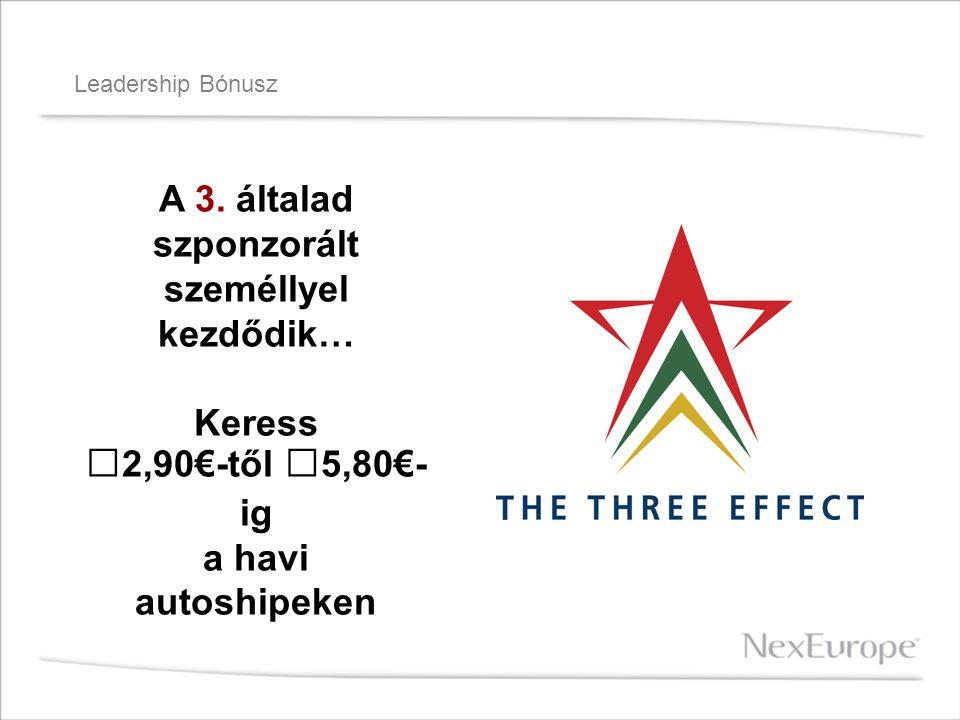 Leadership Bónusz A 3. általad szponzorált személlyel kezdődik… Keress 2,90€-től 5,80€- ig a havi autoshipeken