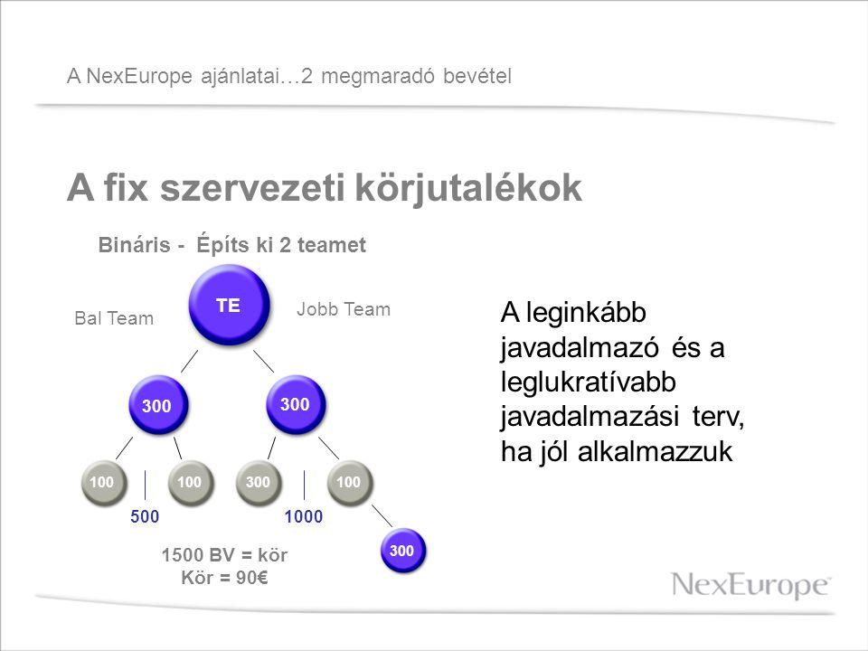 A NexEurope ajánlatai…2 megmaradó bevétel A fix szervezeti körjutalékok Jobb Team Bal Team Bináris - Építs ki 2 teamet TE 300 100300 100 300 1500 BV = kör Kör = 90€ 1000500 A leginkább javadalmazó és a leglukratívabb javadalmazási terv, ha jól alkalmazzuk