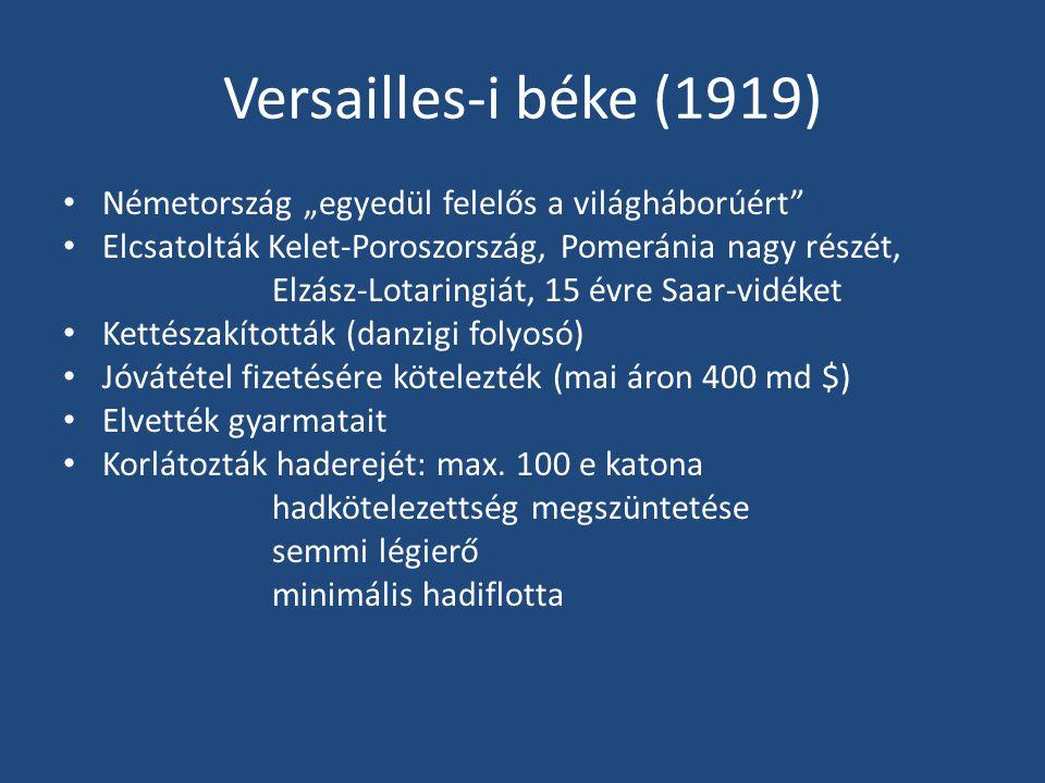 """Versailles-i béke (1919) • Németország """"egyedül felelős a világháborúért"""" • Elcsatolták Kelet-Poroszország, Pomeránia nagy részét, Elzász-Lotaringiát,"""