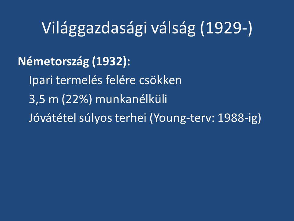 Világgazdasági válság (1929-) Németország (1932): Ipari termelés felére csökken 3,5 m (22%) munkanélküli Jóvátétel súlyos terhei (Young-terv: 1988-ig)