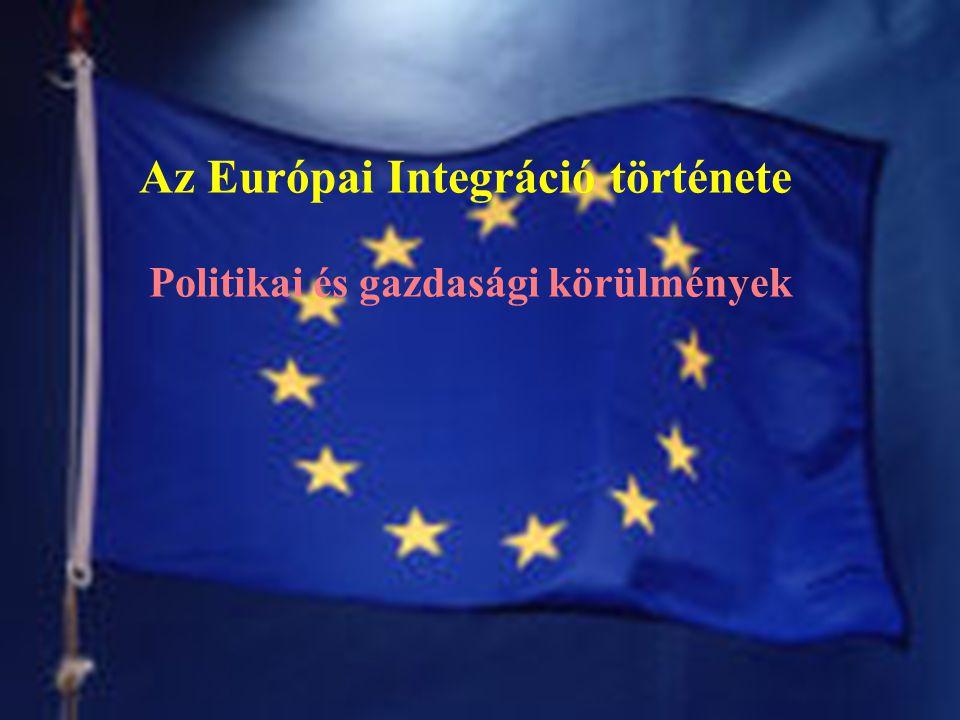 Az Európai Integráció története Politikai és gazdasági körülmények