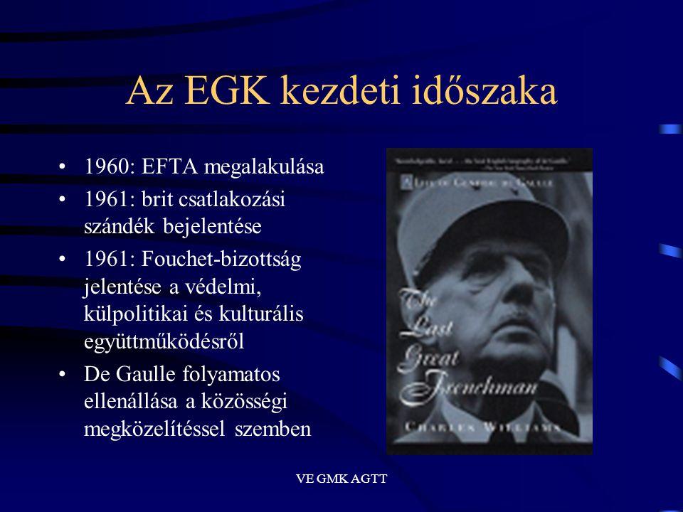 VE GMK AGTT Az EGK kezdeti időszaka •1960: EFTA megalakulása •1961: brit csatlakozási szándék bejelentése •1961: Fouchet-bizottság jelentése a védelmi