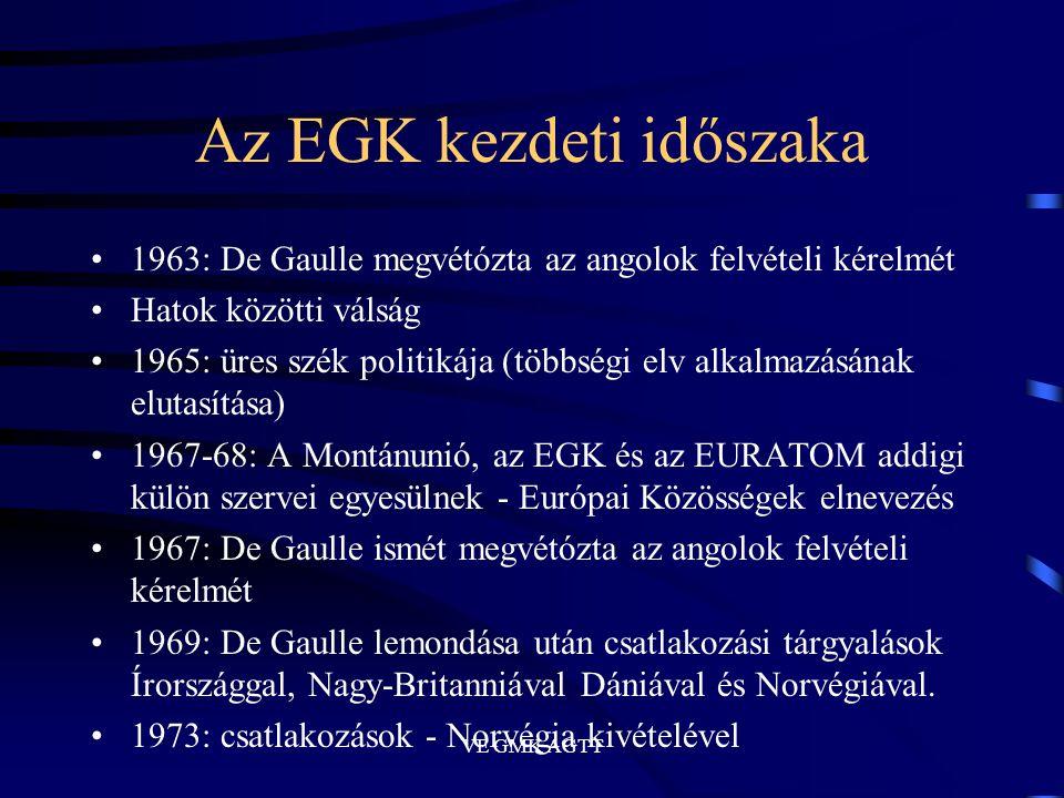 VE GMK AGTT Az EGK kezdeti időszaka •1963: De Gaulle megvétózta az angolok felvételi kérelmét •Hatok közötti válság •1965: üres szék politikája (többs
