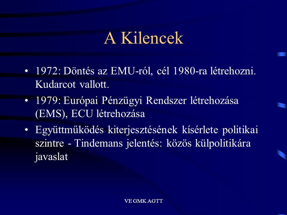 VE GMK AGTT A Kilencek •1972: Döntés az EMU-ról, cél 1980-ra létrehozni. Kudarcot vallott. •1979: Európai Pénzügyi Rendszer létrehozása (EMS), ECU lét