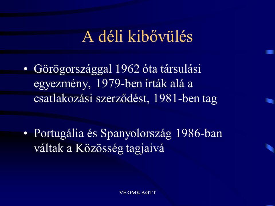 VE GMK AGTT A déli kibővülés •Görögországgal 1962 óta társulási egyezmény, 1979-ben írták alá a csatlakozási szerződést, 1981-ben tag •Portugália és S