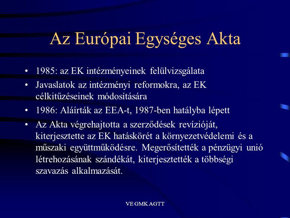 VE GMK AGTT Az Európai Egységes Akta •1985: az EK intézményeinek felülvizsgálata •Javaslatok az intézményi reformokra, az EK célkitűzéseinek módosítás