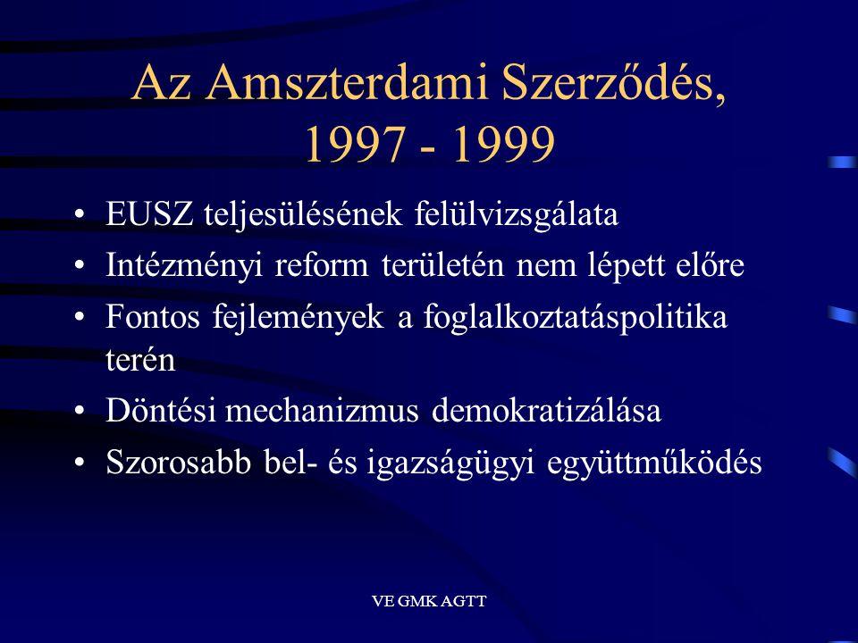VE GMK AGTT Az Amszterdami Szerződés, 1997 - 1999 •EUSZ teljesülésének felülvizsgálata •Intézményi reform területén nem lépett előre •Fontos fejlemény