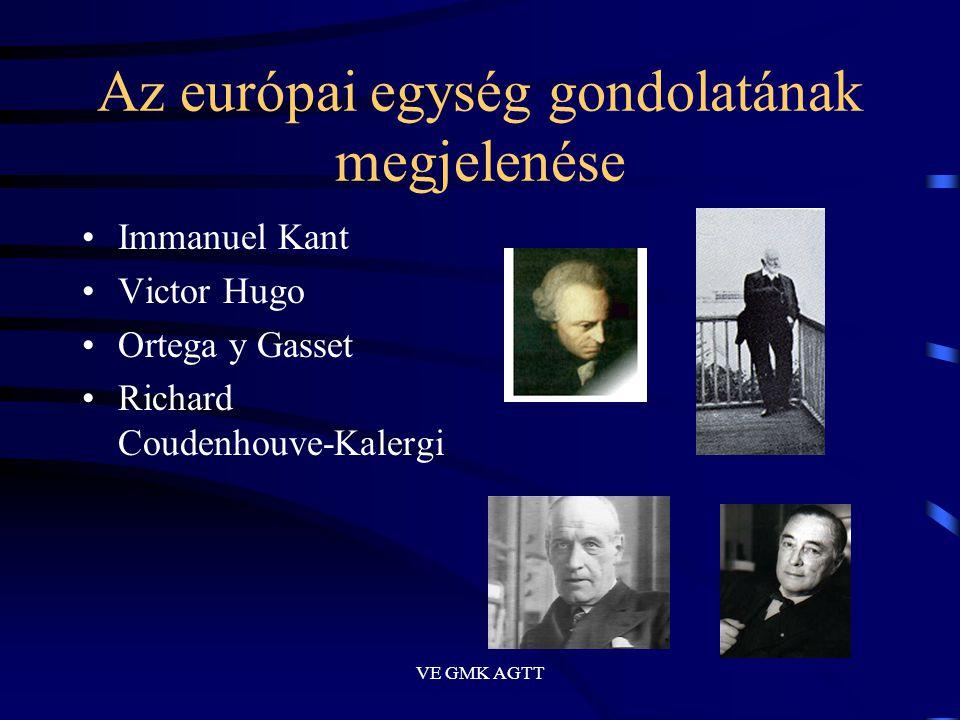 VE GMK AGTT Az európai egység gondolatának megjelenése •Immanuel Kant •Victor Hugo •Ortega y Gasset •Richard Coudenhouve-Kalergi