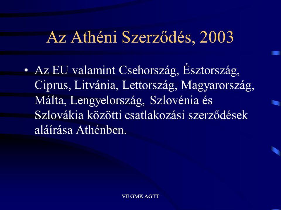 VE GMK AGTT Az Athéni Szerződés, 2003 •Az EU valamint Csehország, Észtország, Ciprus, Litvánia, Lettország, Magyarország, Málta, Lengyelország, Szlové