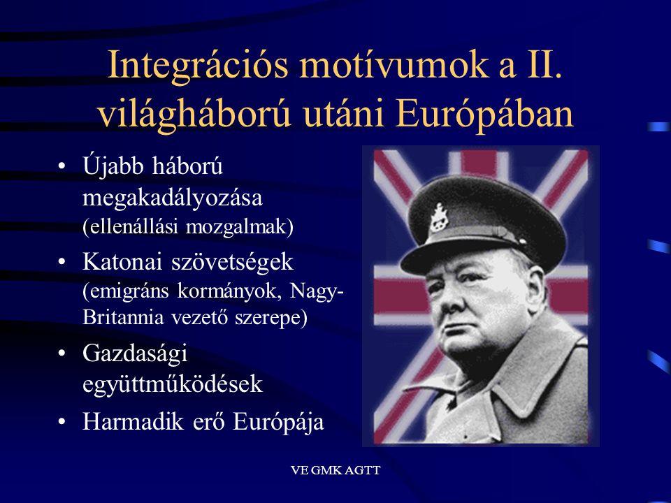 VE GMK AGTT Integrációs motívumok a II. világháború utáni Európában •Újabb háború megakadályozása (ellenállási mozgalmak) •Katonai szövetségek (emigrá