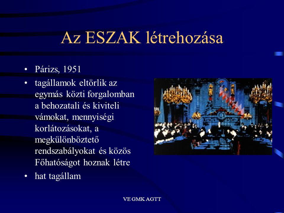 VE GMK AGTT Az ESZAK létrehozása •Párizs, 1951 •tagállamok eltörlik az egymás közti forgalomban a behozatali és kiviteli vámokat, mennyiségi korlátozá